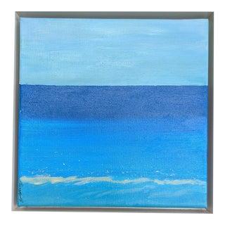"""Aqua"" Contemporary Minimalist Seascape Acrylic Painting, Framed For Sale"