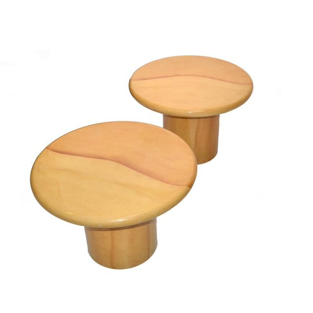 A Pair of Mid-Century Modern Round Table Top lacquered Goatskin Side Table in the Style of Karl Springer. Stunning looking...