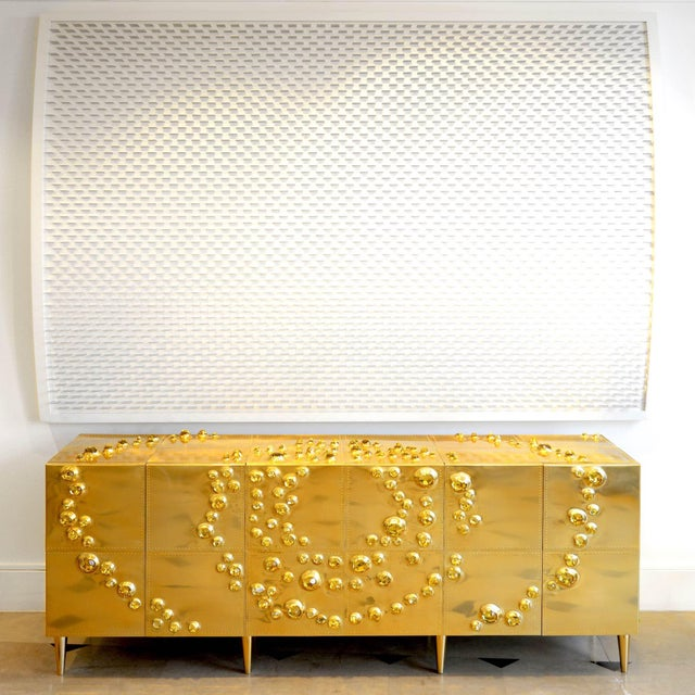 Contemporary Roberto Giulio Rida - Unique Sideboard Made of Brass, Wood, and Glass Crystals For Sale - Image 3 of 8