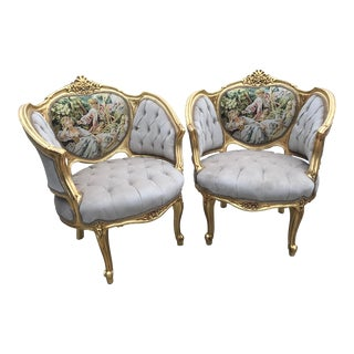 1900s French Louis XVI Style Corbeille Chairs - a Pair For Sale