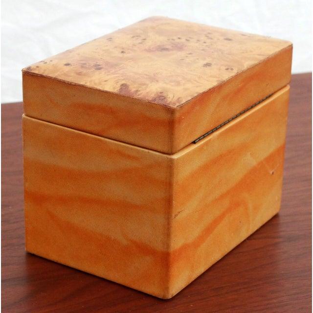 Vintage Leather & Burlwood Trinket Box For Sale - Image 5 of 7
