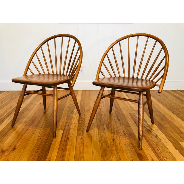 Vintage Mid Century Russel Wright for Conant Ball Windsor Style Maple Chairs- A Pair For Sale - Image 10 of 10