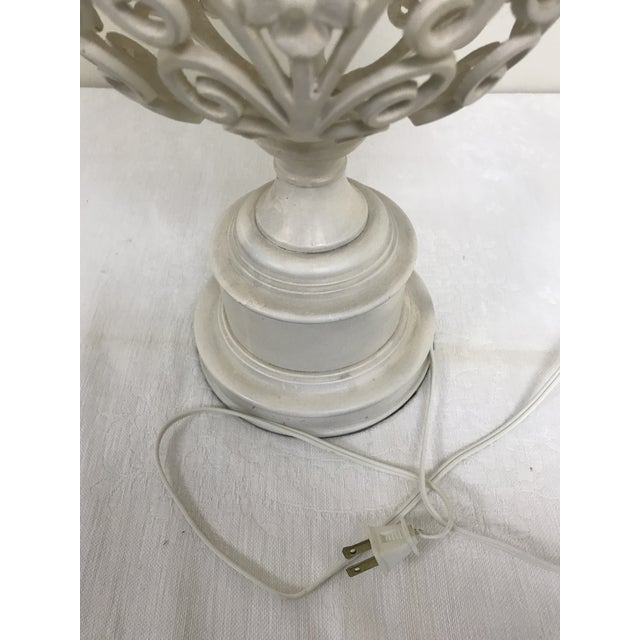 White 1960s Shabby Chic Wrought Iron Filigree White Painted Table Lamp For Sale - Image 8 of 10