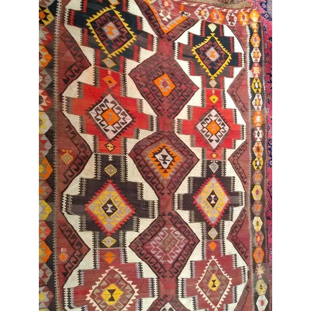 1940s Vintage Kurdish Kilim Rug - 5′ × 14′2″ For Sale - Image 11 of 12