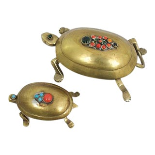 Cabochon Brass Turtle Boxes - a Pair