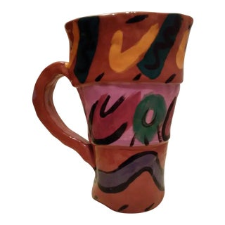 Handmade and Hand Painted Pottery Pitcher Vase
