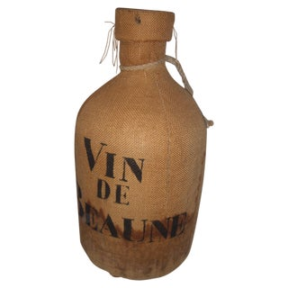 Vintage French Beaune Glass & Cloth Wine Jug For Sale