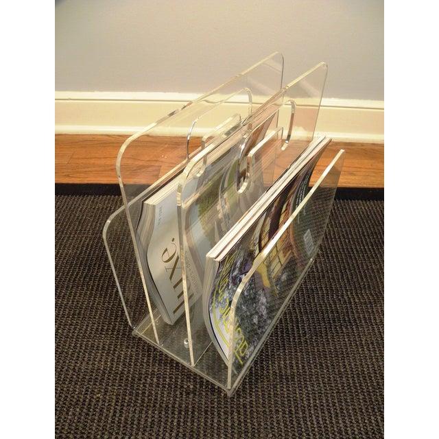 Mid-Century Acrylic Magazine Rack with Handle For Sale - Image 5 of 5