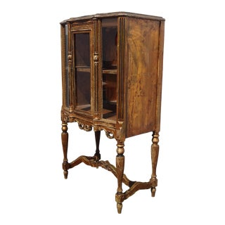 Antique French Rococo Louis XVI Gold Display Curio Cabinet w Gold Vein Mirror For Sale