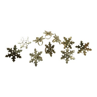 Brass Snowflake Napkin Rings, S/10 For Sale