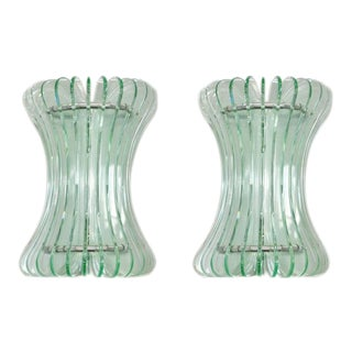 1960s Mid-Century Modern Italian Cristal Art Beveled Glass Sconces - a Pair