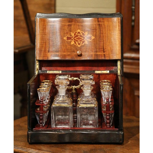 Late 19th Century 19th Century French Napoleon III Walnut Cave a Liqueur With Inlay Marquetry For Sale - Image 5 of 12