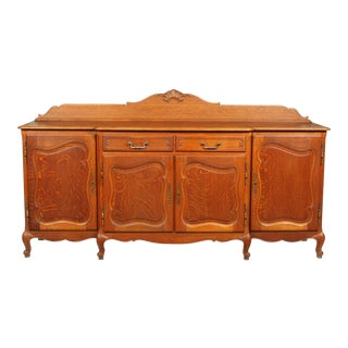 1950's French Provincial-Style Oak Buffet For Sale