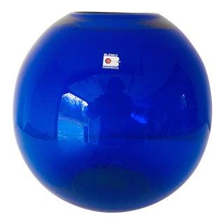 Vintage Blenko Cobalt Midcentury Vase Large Round 10x10 Excellent For Sale