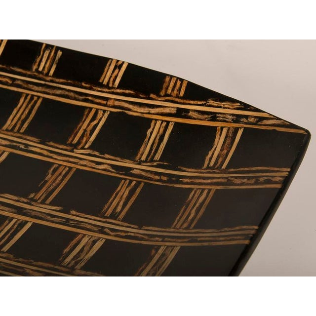 Modern Large Black Lacquer Tray Inlaid with Bamboo, Malaysia For Sale In Houston - Image 6 of 7