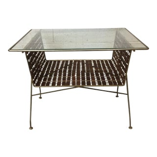Mid Century Two Tier Wicker Ribbon Weave & Brass Glass Top Patio Table For Sale
