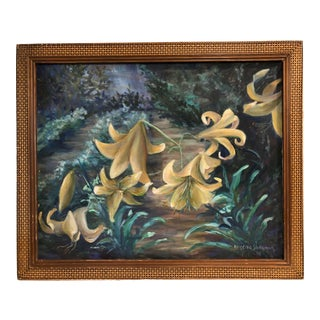 Late 20th Century Eugena Sherman Easter Lily Oil Painting For Sale