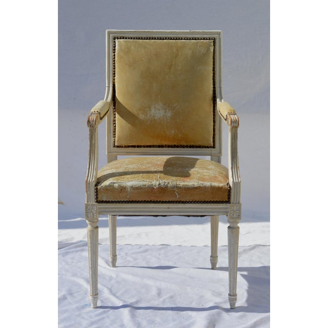 Painted French Louis XVI Desk Chair in Old Leather For Sale - Image 13 of 13