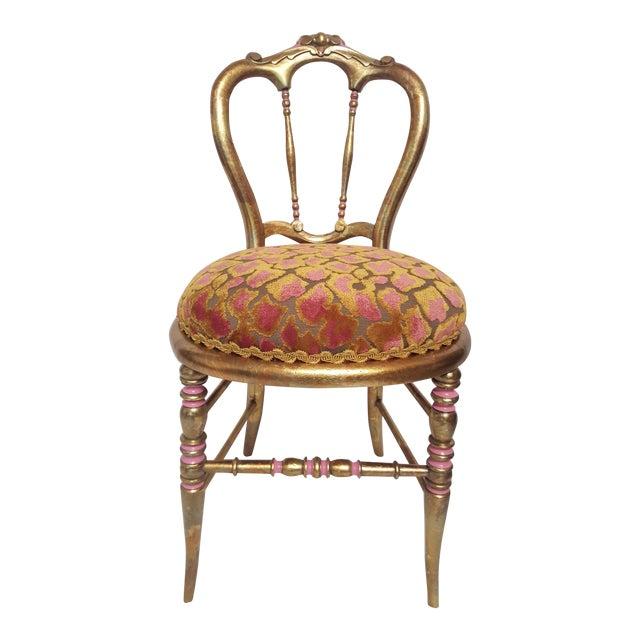 Hollywood Regency Gold-Leafed & Leopard Velvet Vanity Chair - Image 1 of 8