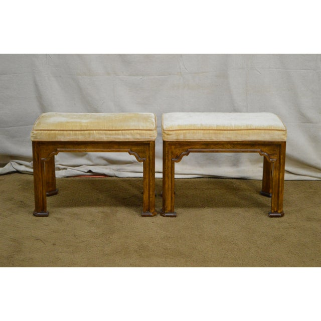Yellow Drexel Heritage Pair of Vintage Walnut Stools or Benches For Sale - Image 8 of 13