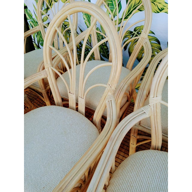 Wood Vintage McGuire Style Natural Coastal Rattan Dining Arm Chairs Set of 6 For Sale - Image 7 of 10