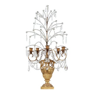 Italian Giltwood Iron and Crystal Girandole For Sale