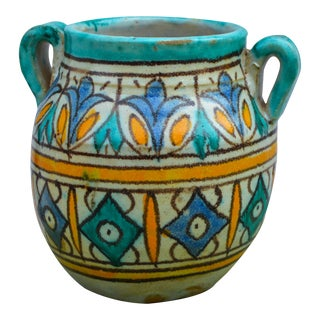 Moorish-Patterned Vase W/ Handles For Sale