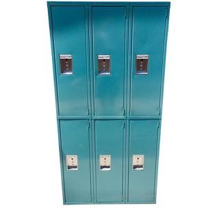 Mid-Century Industrial Gymnasium Locker in Teal Blue by Medart For Sale