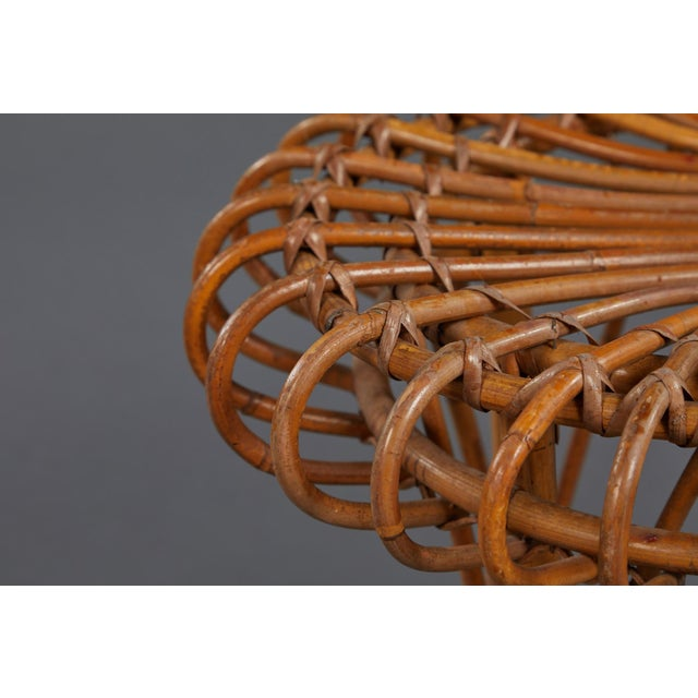 Brown A Petite Pair of Sculptural Rattan Stools For Sale - Image 8 of 10