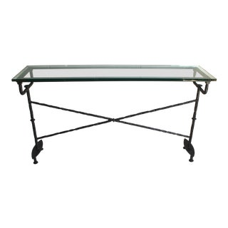 20th Century Modern Metal Console With Glass Top For Sale