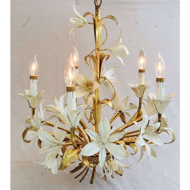 Boho Chic Vintage Five-Arm/Light Italian Gold Gilt Lily Tole Chandelier For Sale - Image 3 of 11