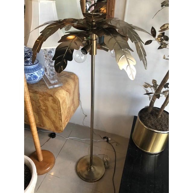 Vintage Hollywood Regency Gold Brass Metal Palm Tree Leaf Frond Leaves Floor Lamp For Sale - Image 10 of 13