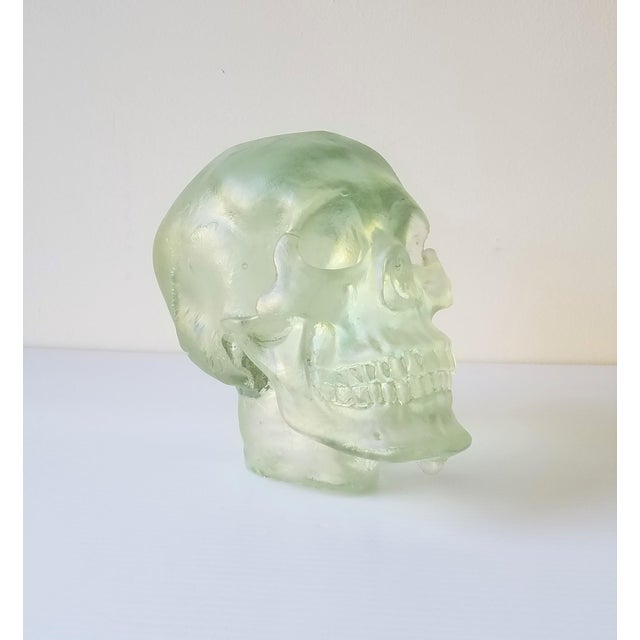 Green Paul Marioni Sand-Casted Glass Skull For Sale - Image 8 of 8
