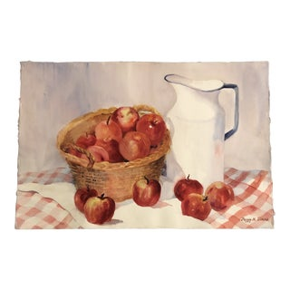 Original Vintage Still Life Watercolor Painting With Apples & Pitcher For Sale