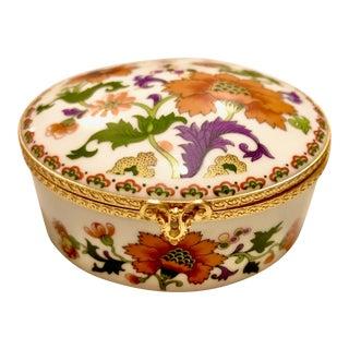 Vintage Floral Limoges Porcelain Trinket Box With Gold Clasp For Sale