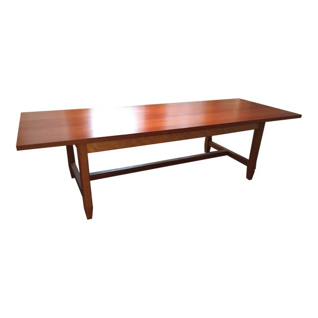 Solid Cherry Dining Table With Antique-Style Trestle For Sale
