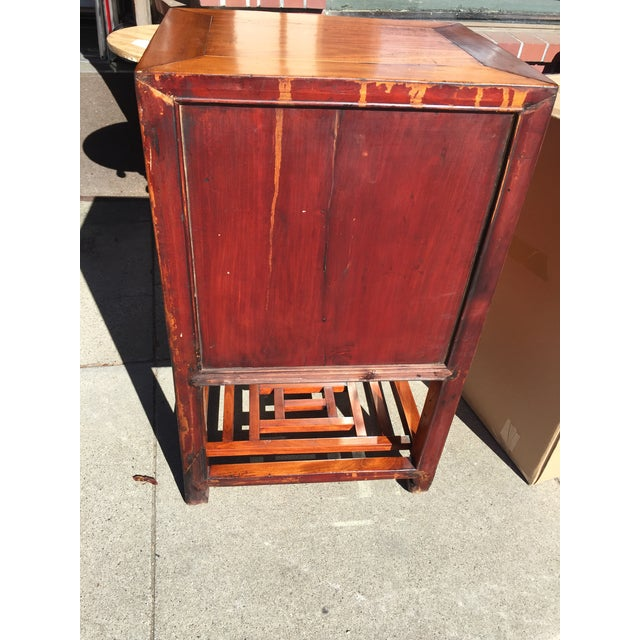 Chinese Elm Wood Cabinet with Shelf For Sale - Image 5 of 6