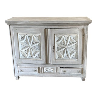 19th C French Rustic Two Door Buffet Cabinet Console For Sale