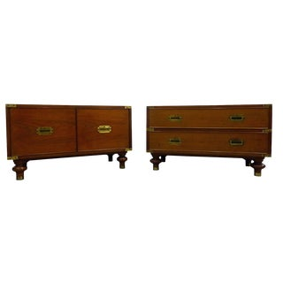 Beacon Hill Mid-Century Campaign Chests / Side Tables - A Pair For Sale