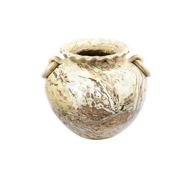 Large Vintage Handmade Clay Vase For Sale