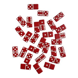 Mid Century Red and White Vintage Dominoes in Original Packaging - 28 Pieces For Sale