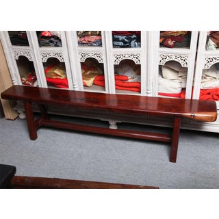 Vintage Mingei Style Backless Long Wooden Bench Made of Railroad Ties Preview