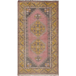 Vintage Turkish Hand Woven Pink Wool Rug - 3′1″ × 7′