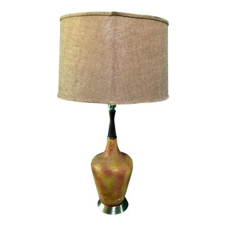 Mid Century Orange Psychedelic Table Lamp For Sale