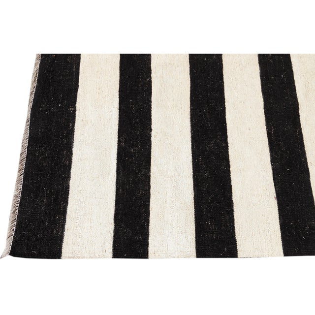 2010s Contemporary Black and White Striped Kilim Flat-Weave Wool Rug For Sale - Image 5 of 11