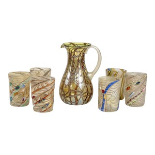 Gold and Silver Murano Glass Pitcher With Six Glasses For Sale