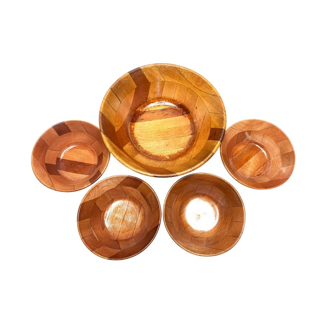 Vintage Mid Century Hand Crafted Wooden Serving Bowls - Set of 5 For Sale