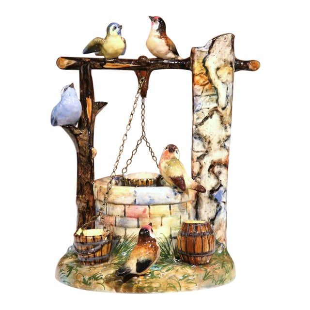 19th Century Hand-Painted Barbotine Majolica Well Sculpture With Birds Signed J. Massier - Image 1 of 10