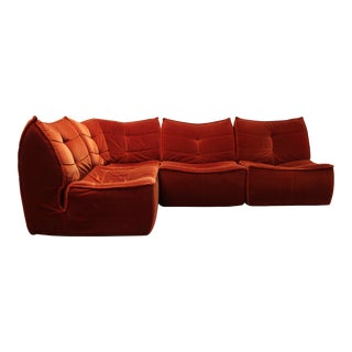 1970s French Modular Mohair Sofa For Sale