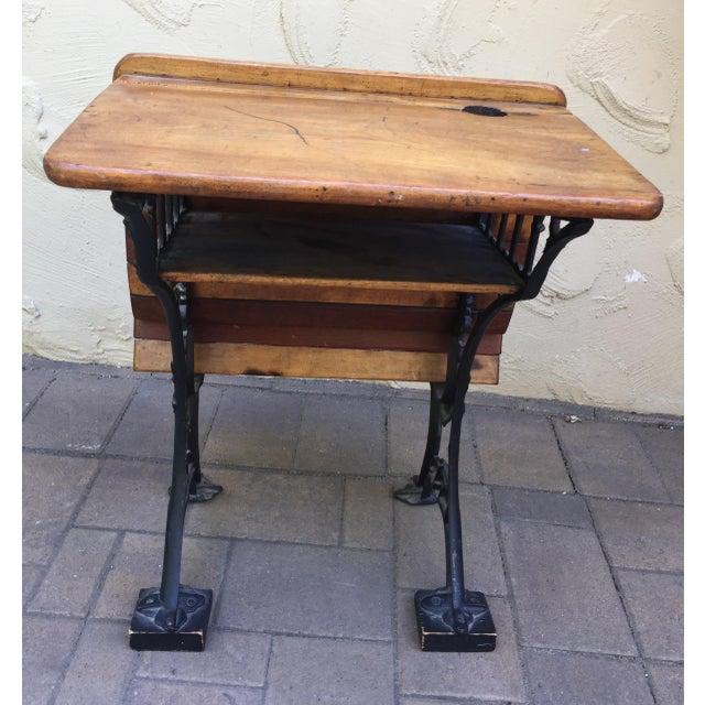 Antique cast iron / wood School Desk circa 1900. All original wood with  cast iron - Antique Cast Iron/Wood School Desk Chairish
